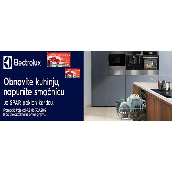 Kupnjom Electrolux odabranih ugradbenih aparata preuzmite SPAR poklon karticu u vrijednosti 400,00 ili 800,00 kn uz obaveznu online prijavu.
