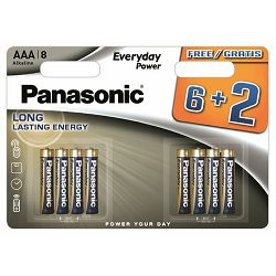 PANASONIC baterije LR03EPS/8BW 6+2F, Alkaline Everyday Power