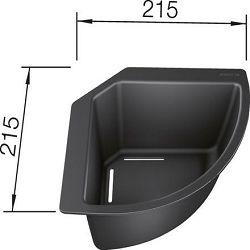 KADICA kutna  (215x215mm)  PVC CRNA