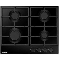 Ploča za kuhanje Hansa BHGS630502, inox, 4 x plin, gus rešetka, crna
