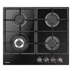 Ploča za kuhanje Hansa, BHKS611502, staklokeramika, 4 plina, crna, gus rešetka, wok plamenik