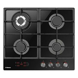 Ploča za kuhanje Hansa BHKS651599, staklokeramika, 4 plina, crna, gus rešetka, wok plamenik, touch control