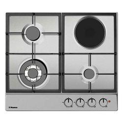 Ploča za kuhanje Hansa BHMI611302, kombinirana, 3 plin + 1 struja, inox, gus rešetka, wok plamenik