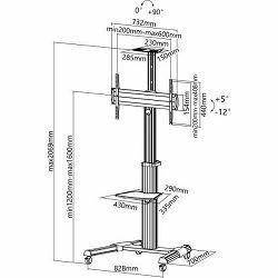 """Mobilni podni stalak  SBOX FS-446 (za 37-70"""", nagib +5° - 12°, rotacija 0-90°)"""