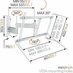 """Nosač za TV zidni VOGELS WALL W53081 40-65"""" bijeli (WALL 2245) (40-65"""", nagib 20°, okret 180°)"""