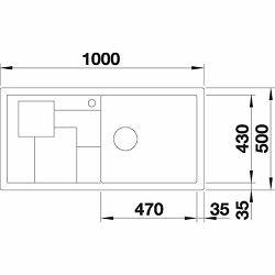 BLANCO sudoper SITY XL 6 S InFino  SILGRANIT PuraDur ALUMETALIK, pribor kadica i daska zelena, bez dalj. upr.